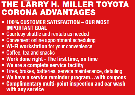 The Larry H. Miller Toyota Corona Advantages