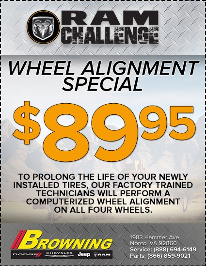 Browning Dodge wheel alignment Special