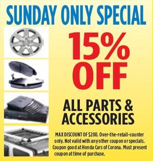 Honda cars of Corona Sunday Specilals